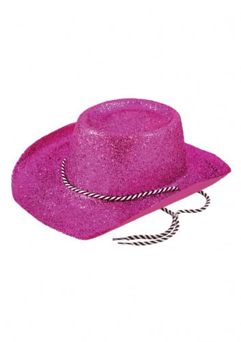 Hat Cowboy Glitter Pink W/cord Adult